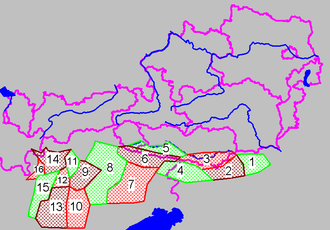 Southern Limestone Alps - Groups of the Southern Limestone Alps (purple lines showing international borders and the borders of Austrian states)