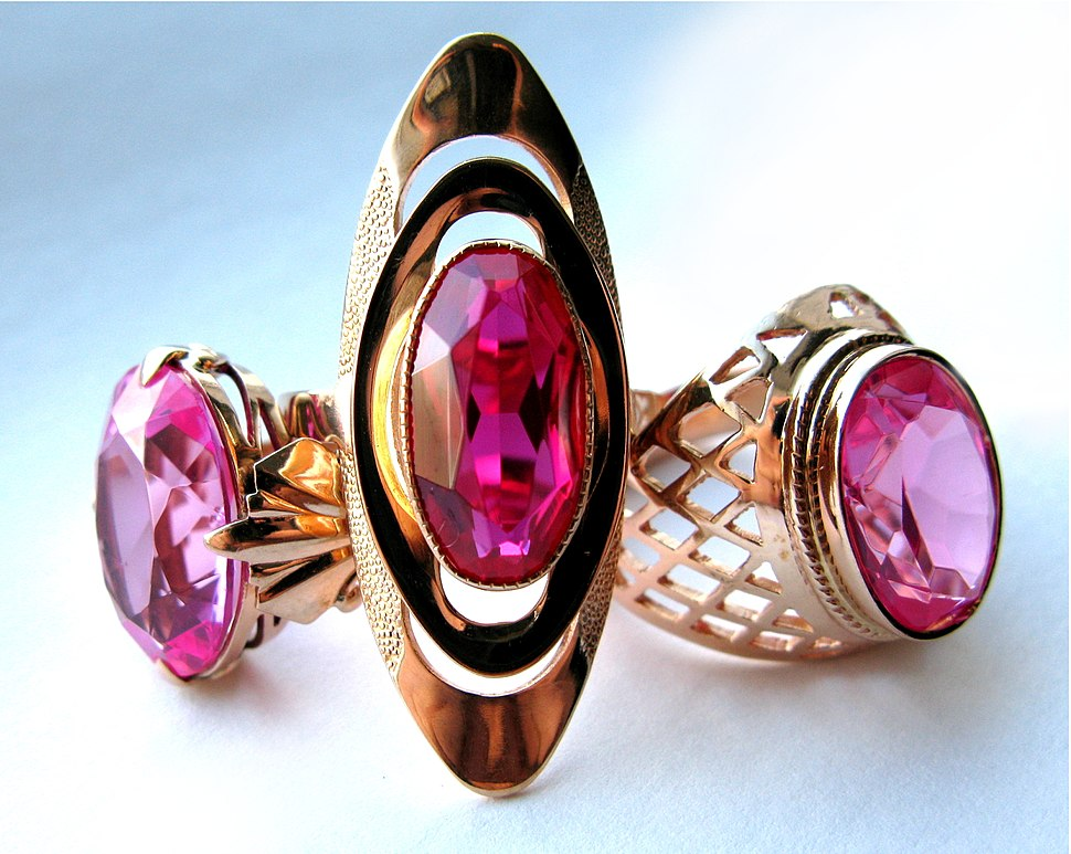 Soviet Gold Rings with Synthetic Rubies