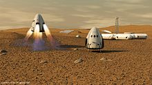 Amarssissage de capsules SpaceX Dragon sur Mars.