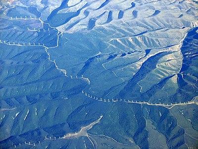 Luchtfoto van een windpark in Spanje