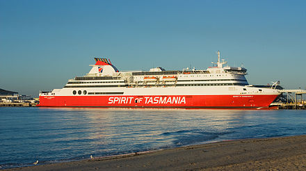 The Spirit of Tasmania links the island with mainland Australia. Spirit of Tasmania Port Melbourne.jpg