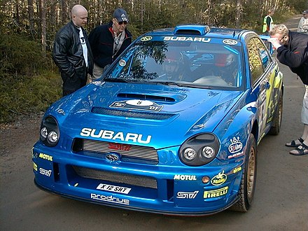 Richard Burns in his Subaru Impreza WRC after a Finnish stage. Ss1 5rb.jpg