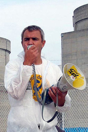 Anti-nuclear movement in France - Stéphane Lhomme in front of Blayais Nuclear Power Plant.
