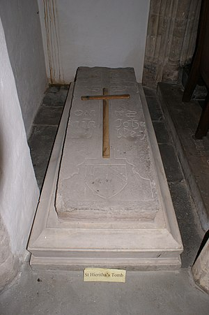 Urith - Ancient slab in St Hieritha's Church, Chittlehampton, believed to cover St. Heiratha's tomb