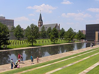 St. Joseph Old Cathedral (Oklahoma City) - St. Joseph's Old Cathedral, seen from the adjacent Oklahoma City National Memorial.