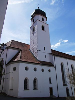 Leutkirch im Allgäu - The late Gothic St. Martin's Church built in the early 16th. century. The onion dome was added in 1814.