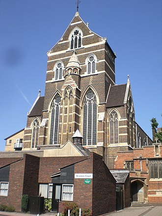 St Alban's Church, Holborn - Image: St Alban the Martyr Church and Brookes Court EC1 geograph.org.uk 1393708