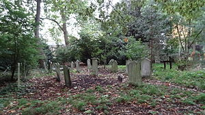 St. John's Wood Church Grounds - Wildlife area with gravestones