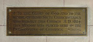 St Nicholas Church, Chiswick - Brass plate commemorating the rebuilding of the church, paid for by the brewer Henry Smith, churchwarden, 1884
