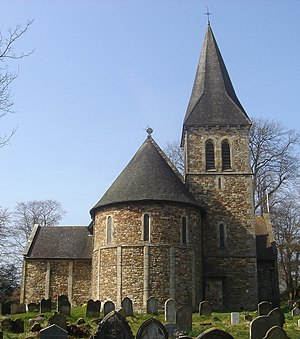 St Nicholas' Church, Worth - East end, showing apse and tower