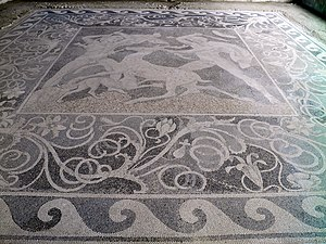 Stag Hunt Mosaic - Image: Stag Hunt Mosaic from the House of the Abduction of Helen, (c. 300 BC), Ancient Pella (6913864630)