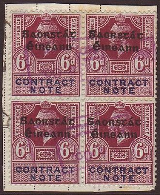 Revenue stamps of Ireland - Block of four 1922 6d Contract Note stamps overprinted Saorstát Éireann