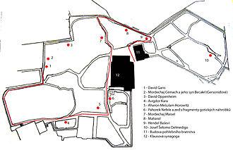 Old Jewish Cemetery, Prague - Orientation plan of the Old Jewish Cemetery of Prague
