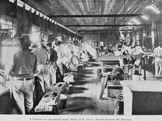 St Helena Island National Park - Prisoners making boots, 1911