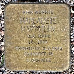 Photo of Margarete Hartstein brass plaque
