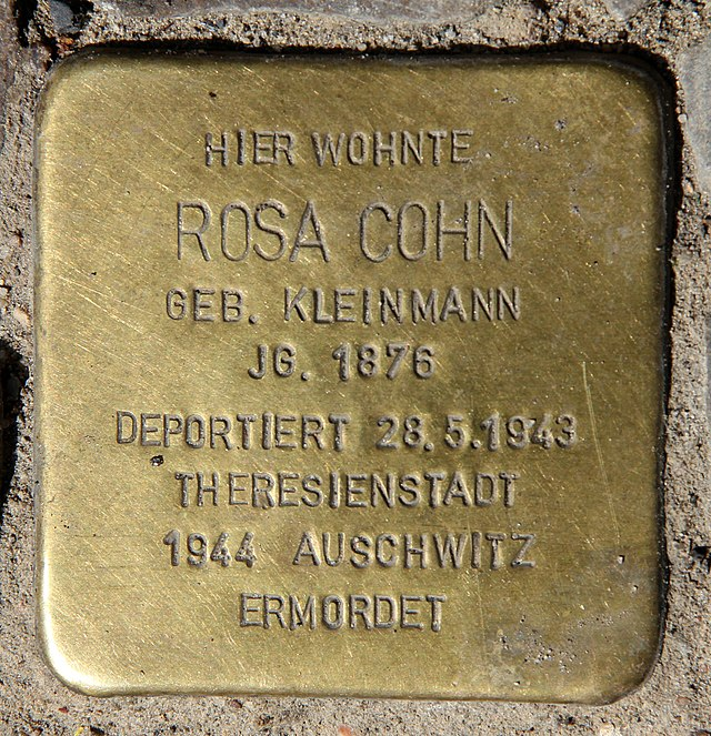 Photo of Rosa Cohn brass plaque