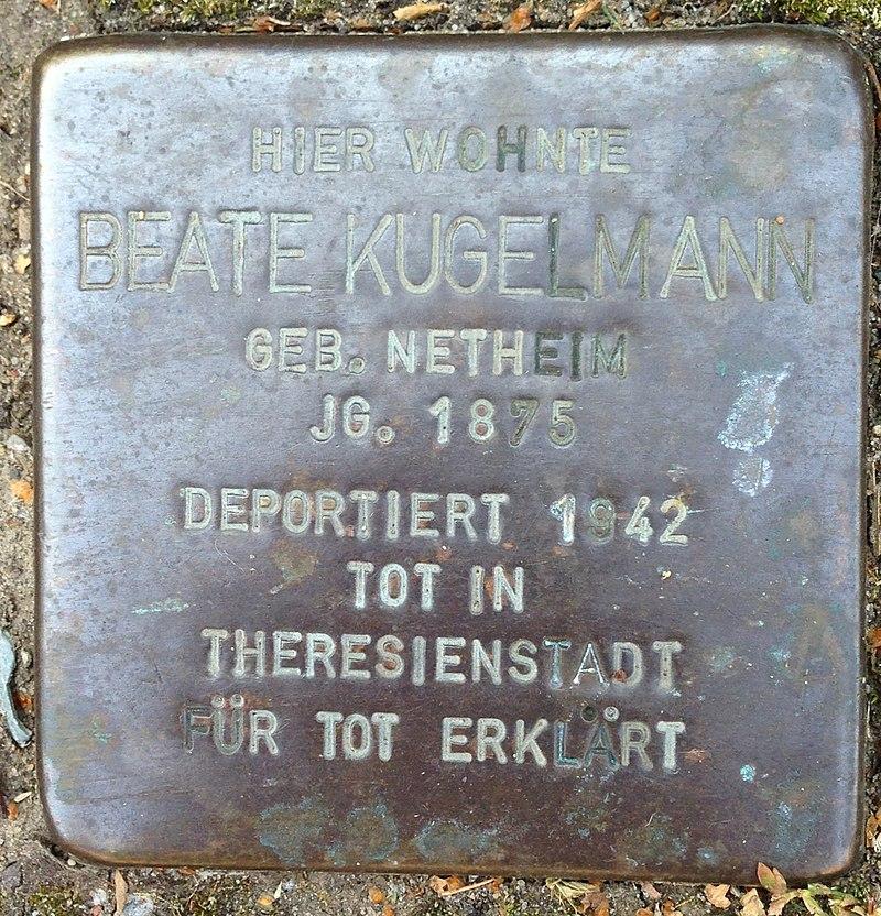 Stolperstein Höxter Ottbergen Nethestraße 4 Beate Kugelmann
