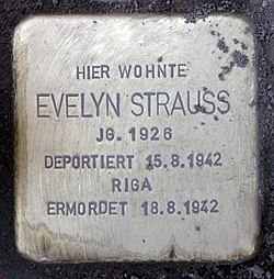 Photo of Evelyn Strauss brass plaque