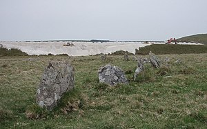 Stannon stone circle - Image: Stone Circle with modern china clay works. geograph.org.uk 418770