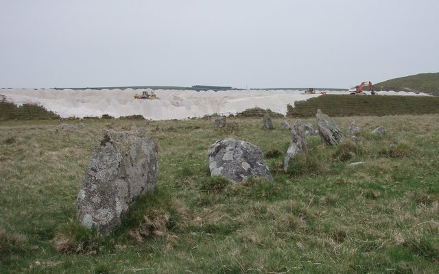 Stone Circle with modern china clay works. - geograph.org.uk - 418770