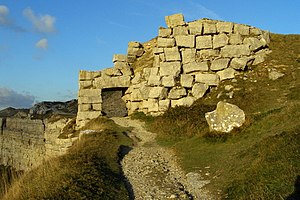 Bowers Quarry - A remaining stone tipping bridge on the western cliff-tops, close to Bowers Quarry.