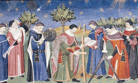 Clerks studying astronomy and geometry (France, early 15th century).