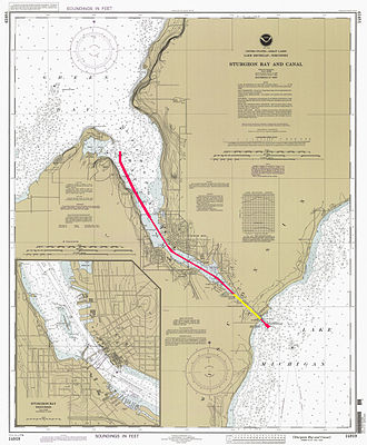 Sturgeon Bay Ship Canal - The Sturgeon Bay Ship Canal highlighted on a 1997 NOAA chart. The dredged portion is in red; the part dug through the peninsula is in yellow.