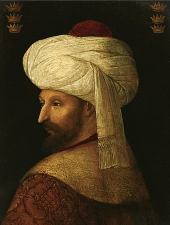 Mehmed, painted by a follower of Gentile Bellini Sultan Mehmed II The Conqueror.jpg