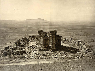 History of Hinduism - Photograph of the Surya Temple, The most impressive and grandest ruins in Kashmir, at Marttand-Hardy Cole's Archaeological Survey of India Report 'Illustrations of Ancient Buildings in Kashmir.' (1869)