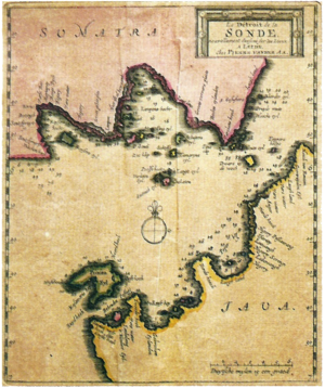Sunda Strait - Map of the Sunda Strait in 1729 by Pierre van der Aa