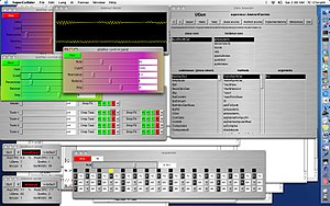 SuperCollider - Screenshot of SuperCollider on Mac OS X with various user-generated GUI elements.