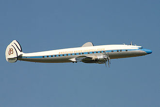 Lockheed Constellation - A preserved C-121C Super Constellation, registration N73544, in flight in 2004