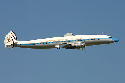 A preserved C-121C Super Constellation, registration N73544, in flight in 2004. - Lockheed Constellation