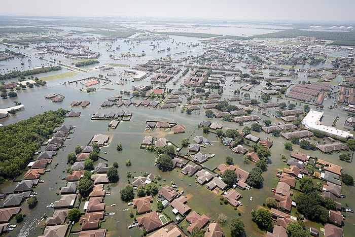 Flooding in Port Arthur, Texas caused by Hurricane Harvey. Harvey was both the wettest and costliest tropical cyclone in United States history. Support during Hurricane Harvey (TX) (50).jpg