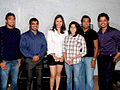Sushil Kumar, Jwala Gutta, Leander Paes, Sreesanth on the sets of KBC 04.jpg