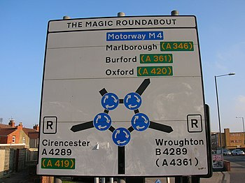 English: Swindon: The Magic Roundabout, traffi...