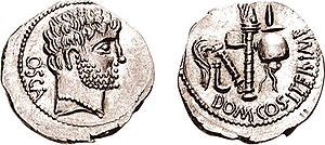 Gnaeus Domitius Calvinus - OSCA behind, head of Hercules right, wearing necklace
