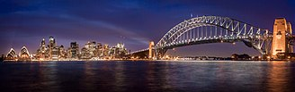 Sydney - Port Jackson with its Sydney Opera House and Sydney Harbour Bridge landmarks
