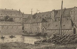 Christian IV's Arsenal - The Arsenal Dock and the Supplies Building, painting by Christian Hetsch