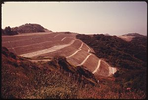 Regrading - Regrading for a subdivision in the Santa Monica Mountains, Los Angeles, California (1970s).