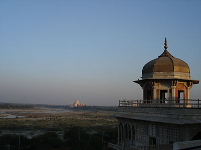 Taj Mahal from Agra fort TM from Red Fort.jpg