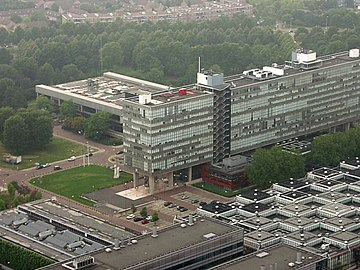 The Eindhoven University of Technology, located in Eindhoven in the south of the Netherlands, where Dijkstra was a professor of mathematics from 1962 to 1984. TU Eindhoven.jpg
