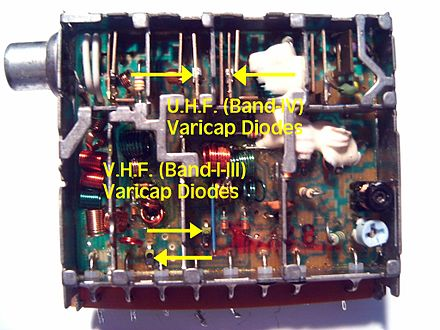 Australian market band I-III-U television tuner with varicaps highlighted TVTunerM 01.jpg
