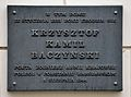 Tablica Krzysztof Kamil Baczyński Bagatela 10 Warszawa.JPG