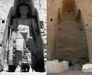 Buddhas of Bamiyan - Taller Buddha in 1963 and in 2008 after destruction