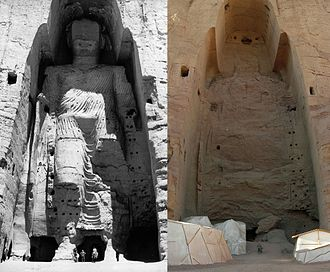 Buddhas of Bamyan - Taller Buddha in 1963 and in 2008 after destruction