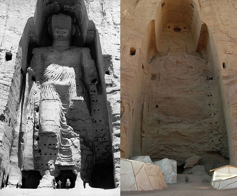 The taller Buddha of Bamiyan before (left picture in 1968) and after destruction (right in 2008).  Image: CC BY-SA 3.0