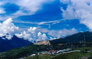 Tawang district - Tawang Town with monastery in background.