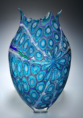 Art glass - Handmade studio glass can utilize complex techniques to achieve highly detailed patterns through murrine or caneworking as shown in this work by American artist David Patchen