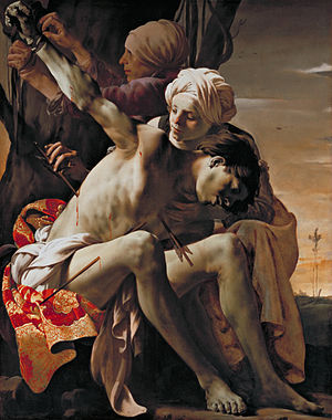 Crucifixion with the Virgin and St John - Saint Sebastian Tended by Irene, oil on canvas, 149 x 119.4 cm, Allen Memorial Art Museum